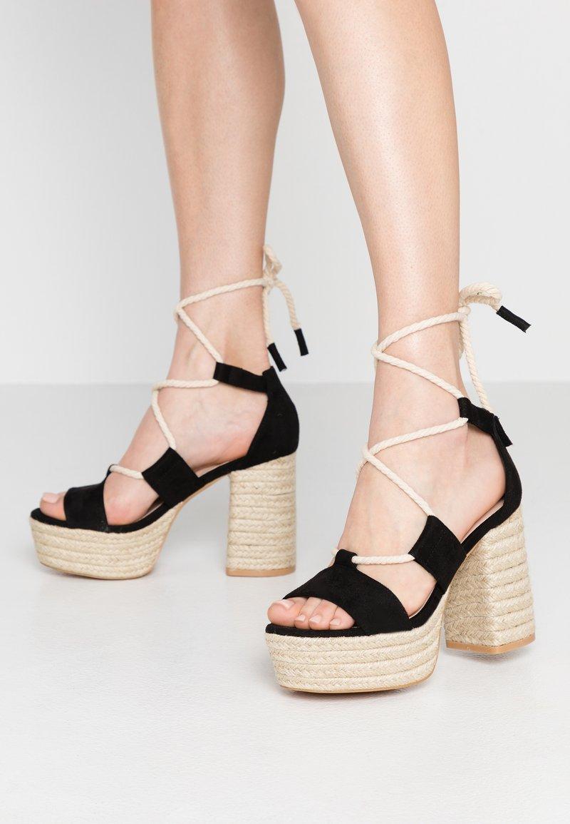 Lost Ink - FRANCES ROPE TRIM  - High heeled sandals - black