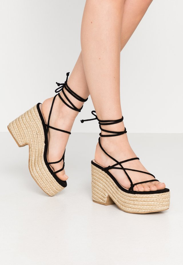 THIN STRAP FLATFORM  - Sandalen met hoge hak - black