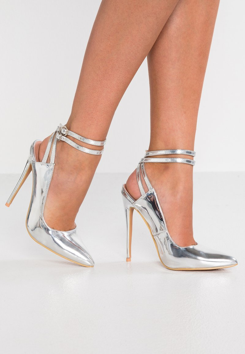 Lost Ink - TOD DOUBLE STRAP SLINGBACK - Zapatos altos - silver