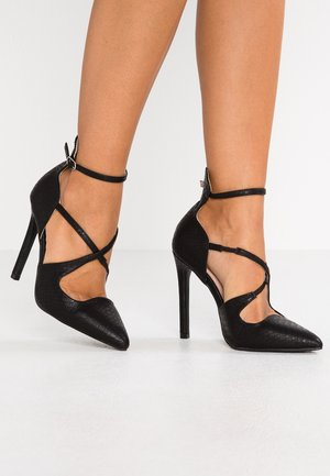 GEORGI STRAPPY COURT - Højhælede pumps - black