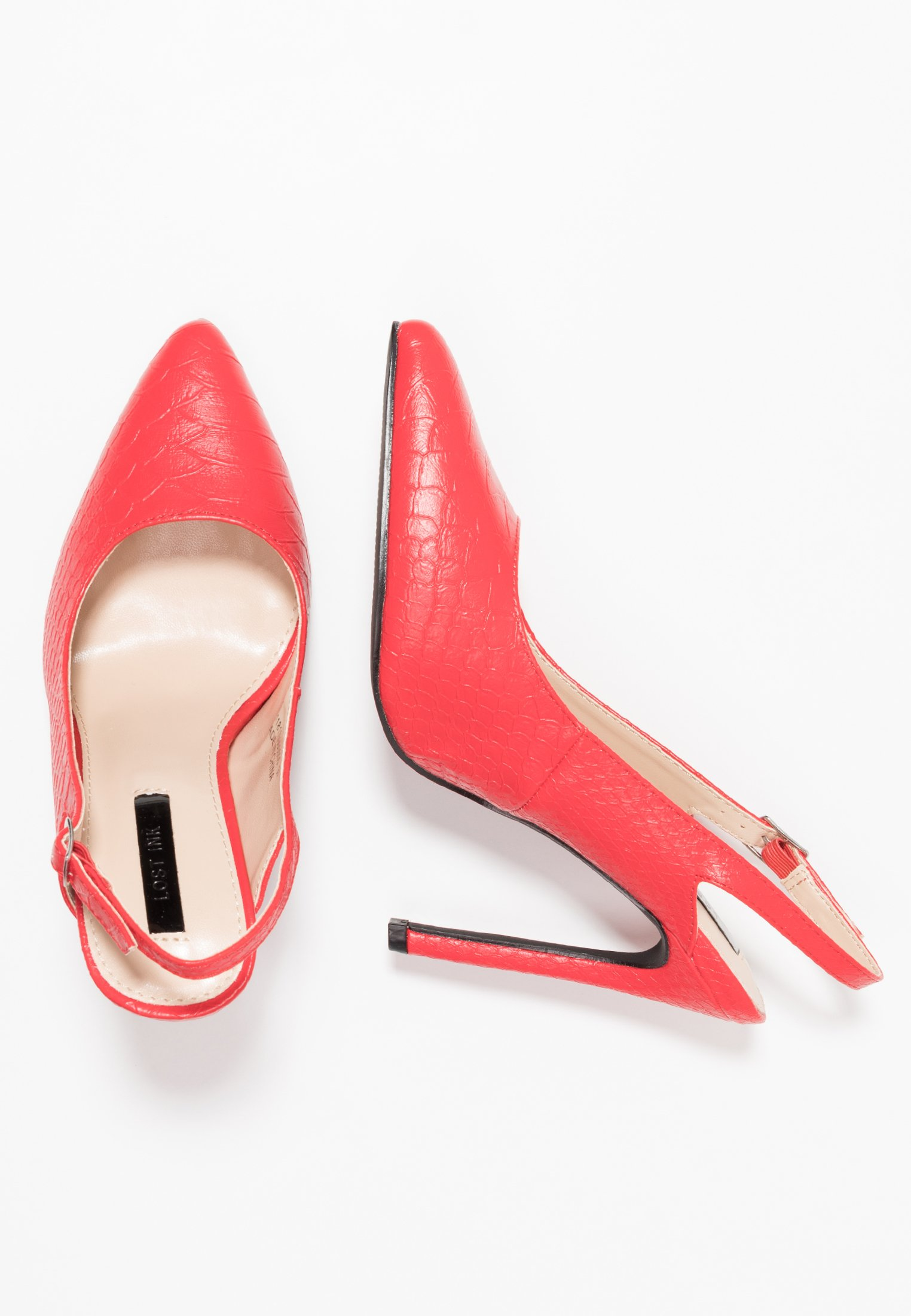 Lost Ink Cass Slingback Court Shoe - Escarpins À Talons Hauts Red