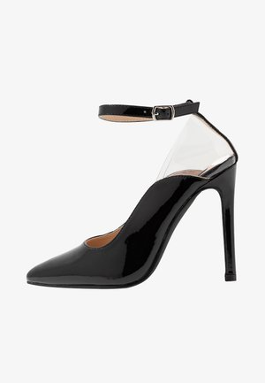 POINTED HIGH COURT WITH ANKLE STRAP - Høye hæler - black