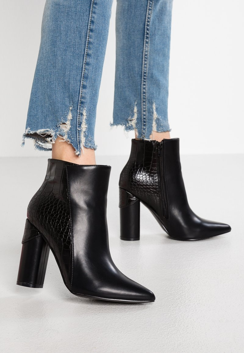 Lost Ink - AMBER MIX BLOCK HEEL - High heeled ankle boots - black