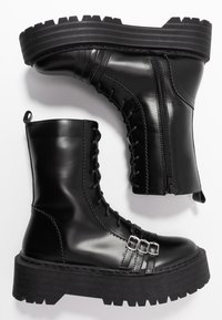 Lost Ink - BUCKLE DETAIL CHUNKY LACE UP BOOT - Santiags - black - 3