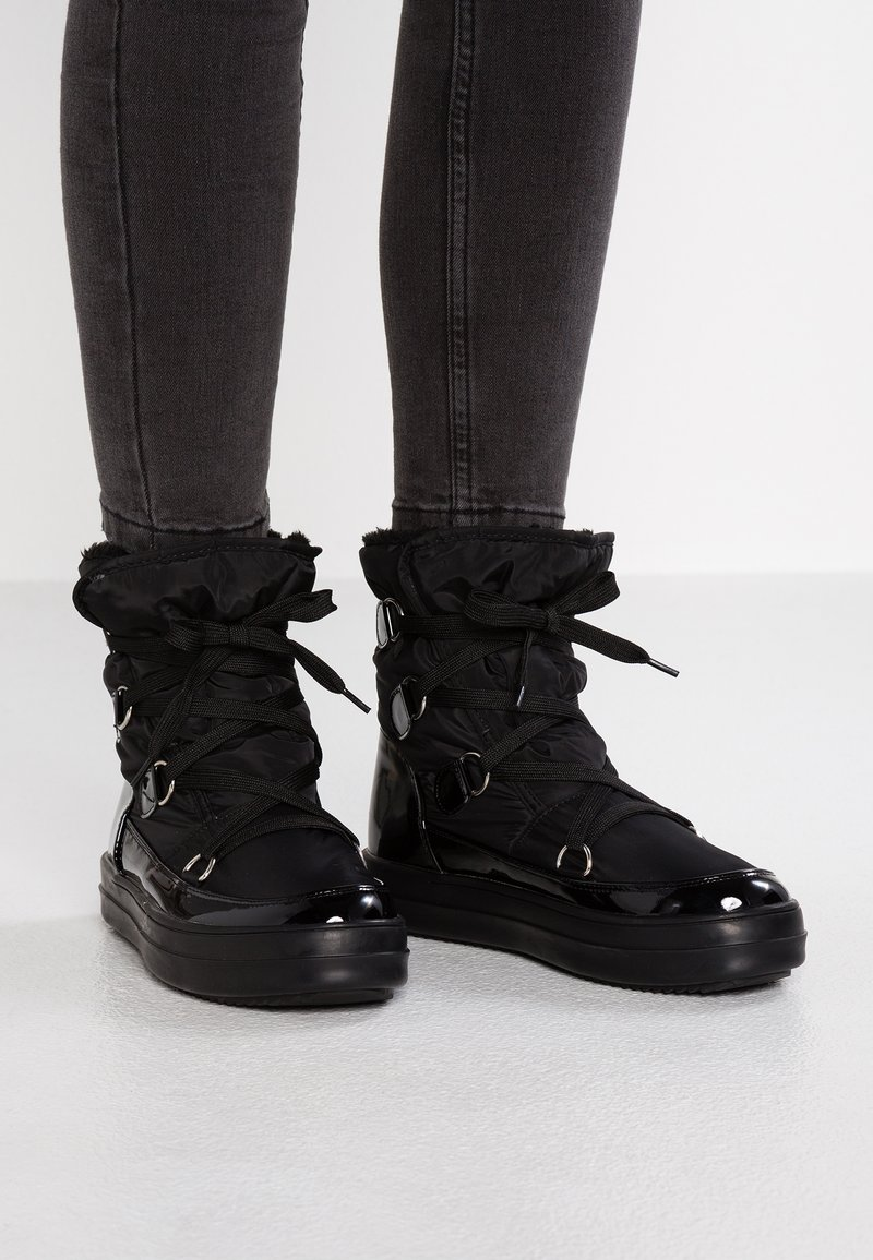 Lost Ink - GWEN CHUNCKY LACE UP - Platform ankle boots - black