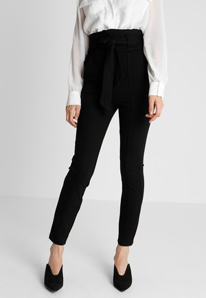 HIGH WAIST TROUSERS WITH BELT - Tygbyxor - black