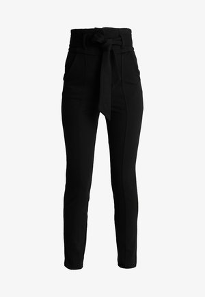 HIGH WAIST TROUSERS WITH BELT - Pantalon classique - black