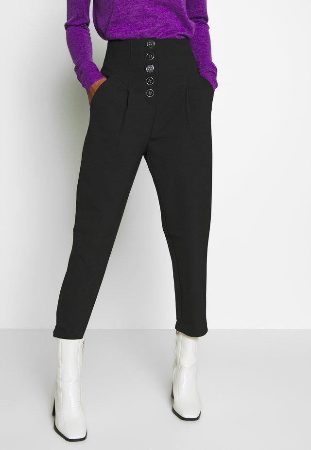 BUTTON FRONT PEG TROUSER - Trousers - black