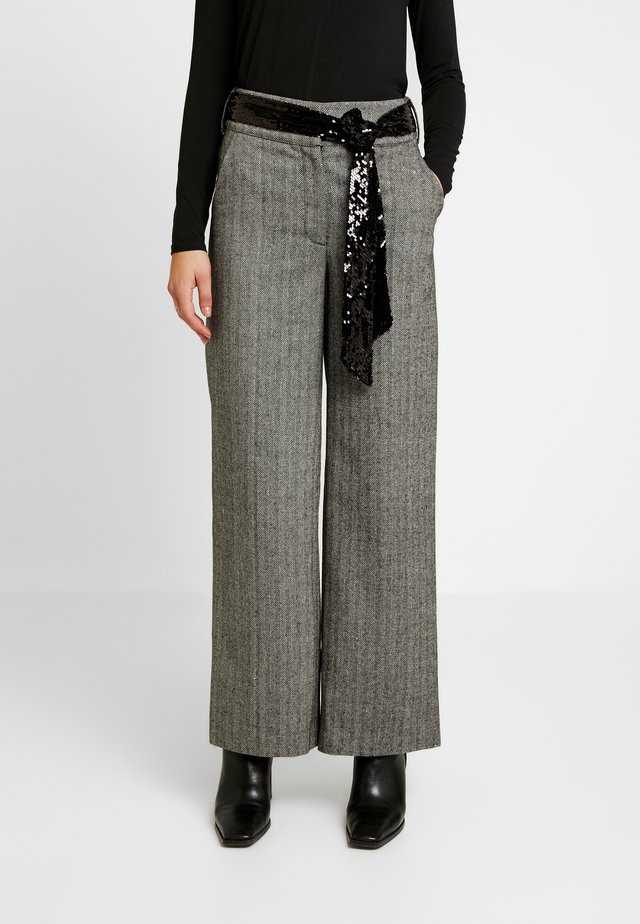 SEQUIN BELT WIDE LEG TROUSER - Kangashousut - grey