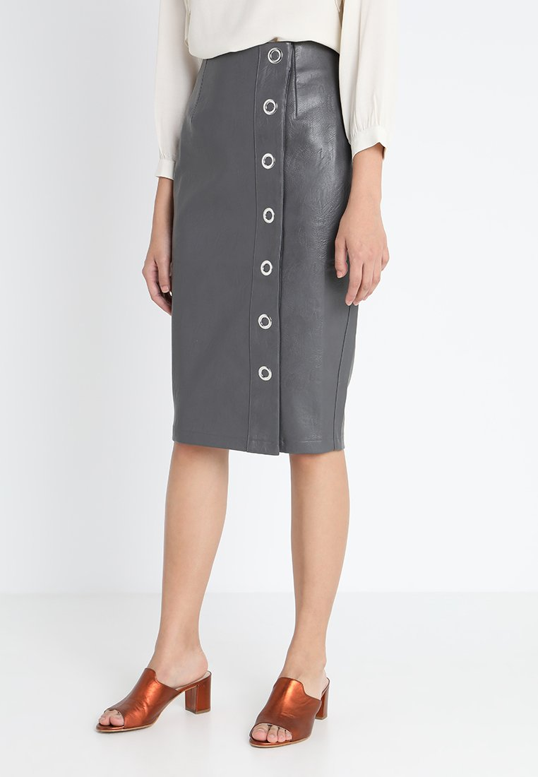 Lost Ink - EYELET POPPER PENCIL - Pencil skirt - grey
