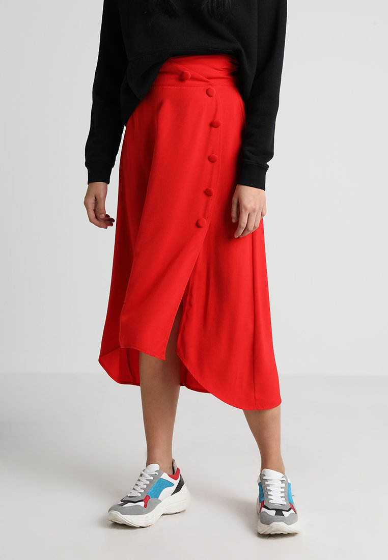 Lost Ink - SKIRT WITH BUTTON THROUGH DETAIL - Maxirock - red