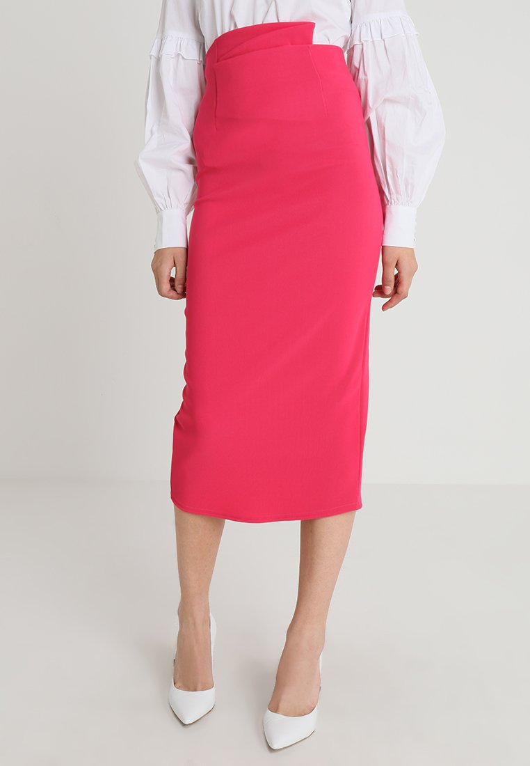Lost Ink - PENCIL SKIRT WITH PAPERBAG WAIST - Pencil skirt - pink