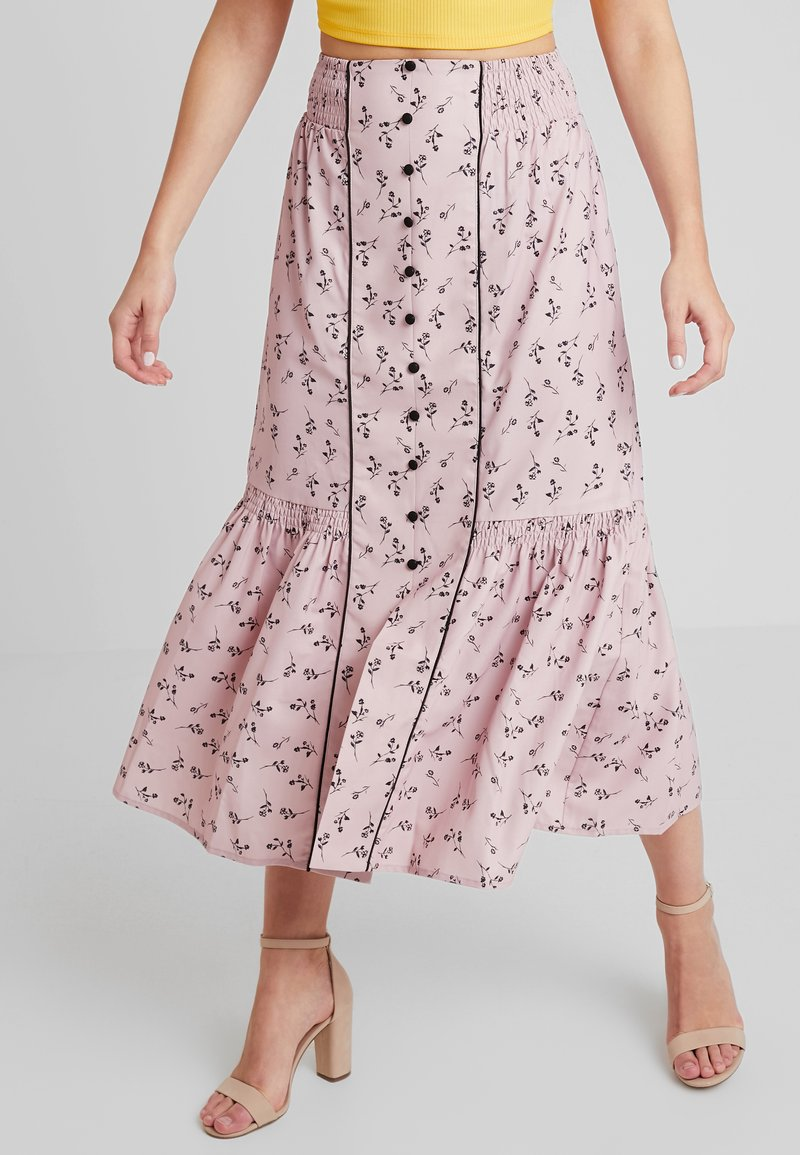 Lost Ink - PENCIL SKIRT IN PRINT WITH BUTTON DETAIL - Maxirok - pink