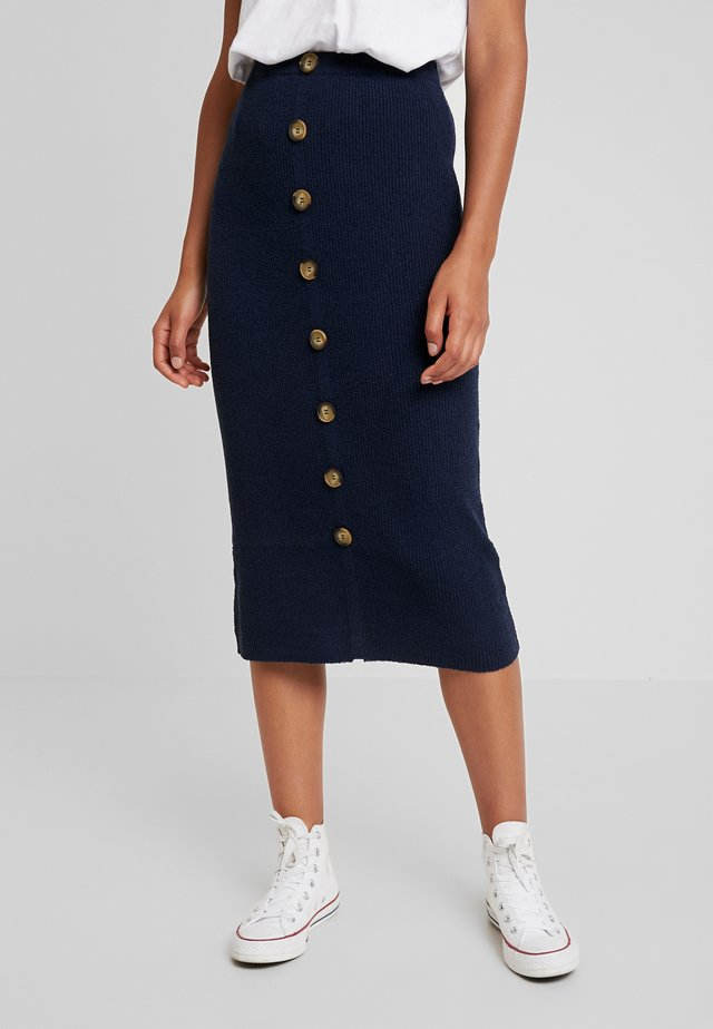 BUTTON THROUGH  SKIRT - Bleistiftrock - navy