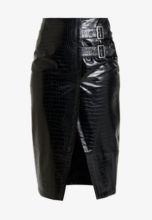 PENCIL SKIRT WITH BUCKLES - Pouzdrová sukně - black
