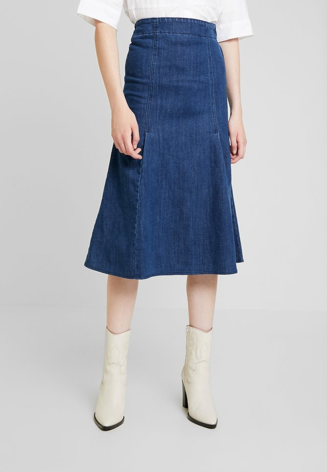 FISHTAIL MIDI SKIRT - Spódnica trapezowa - dark denim
