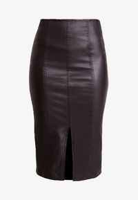 Lost Ink - COATED PENCIL SKIRT WITH SEAM DETAIL - Pencil skirt - burgundy - 4