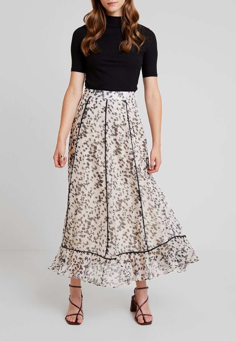 Lost Ink - SKRIT IN PRINT WITH TRIM DETAIL - Maxi skirt - multi