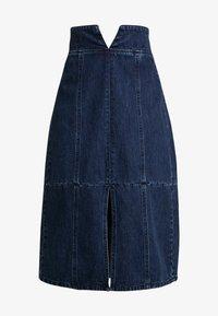 Lost Ink - HIGH WAIST SEAM DETAIL A LINE MIDI SKIRT - A-line skirt - dark denim - 4