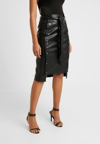 Lost Ink - BUTTON FRONT MIDI SKIRT - Pencil skirt - black - 0