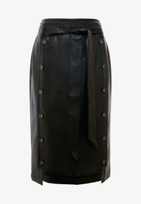 Lost Ink - BUTTON FRONT MIDI SKIRT - Pencil skirt - black - 3