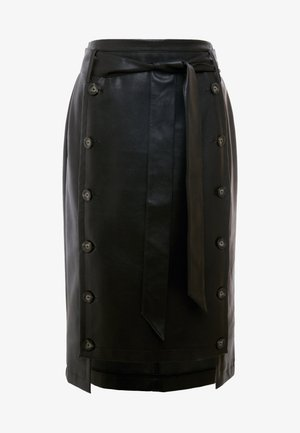 BUTTON FRONT MIDI SKIRT - Pencil skirt - black