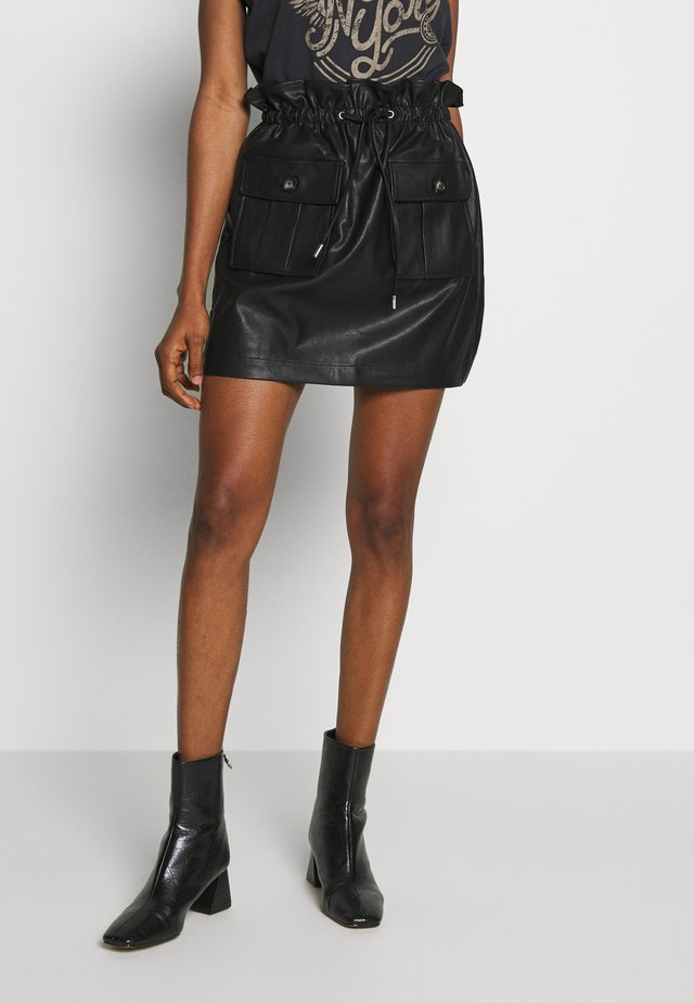 PAPERBAG MINI SKIRT - Mini skirt - black