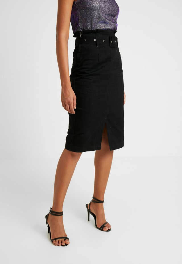 PAPERBAG MIDI PENCIL SKIRT - Spódnica jeansowa - black