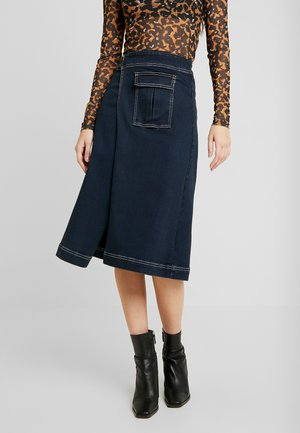 UTILITY WRAP CONTRAST MIDI SKIRT - Denimová sukně - dark denim