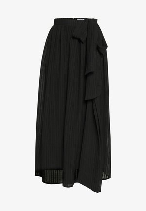 DOUBLE BOW TIE FRONT MIDI SKIRT - A-line skirt - black