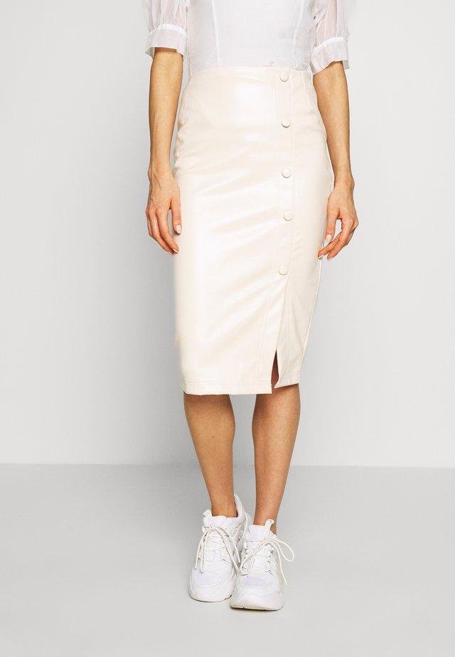 BUTTON FRONT MIDAXI SKIRT - Pencil skirt - cream