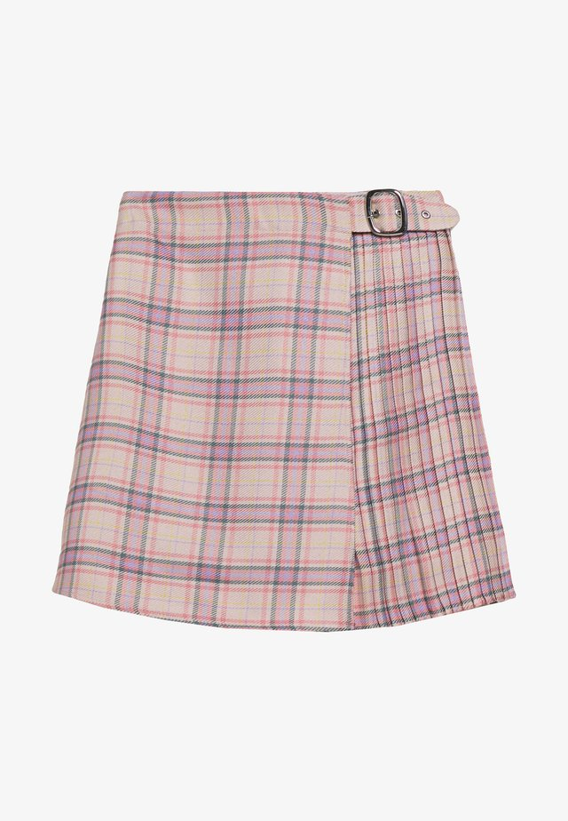 PLEAT DETAIL CHECKED SKIRT - Mini skirt - multi coloured