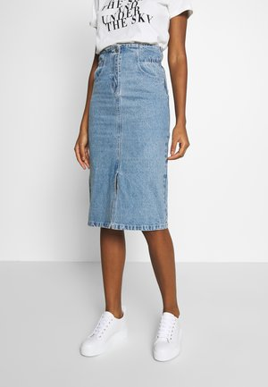 ELASTIC WAIST MIDI SKIRT - Kynähame - light denim