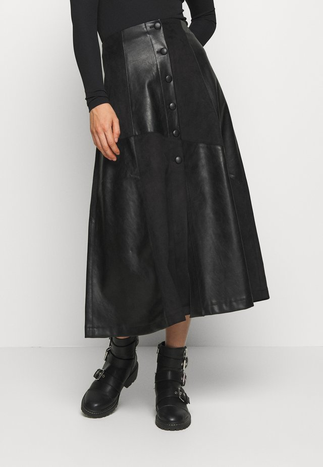 FABRIC MIX MIDI SKIRT - Spódnica trapezowa - black