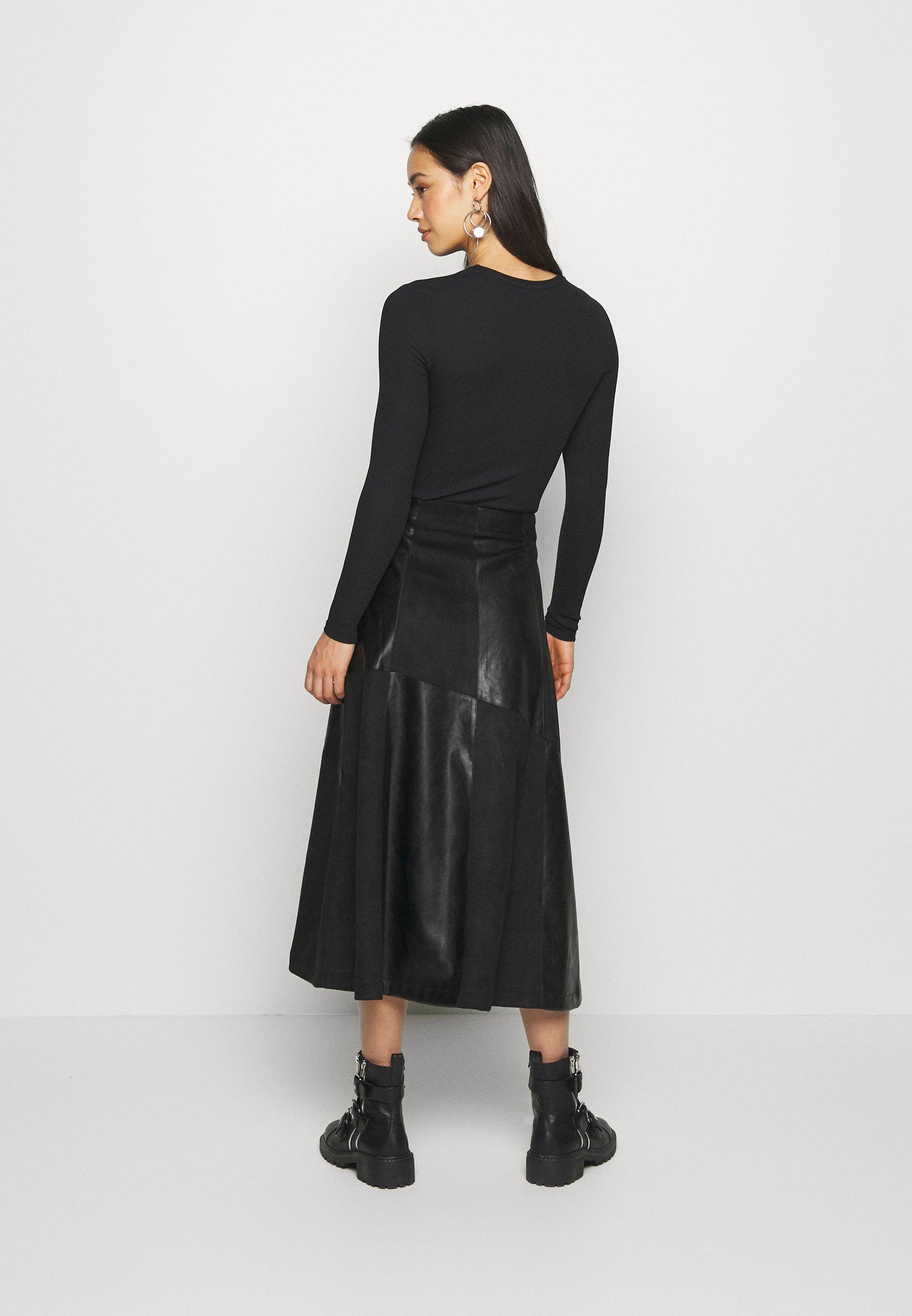 Lost Ink Fabric Mix Midi Skirt - Jupe Trapèze Black