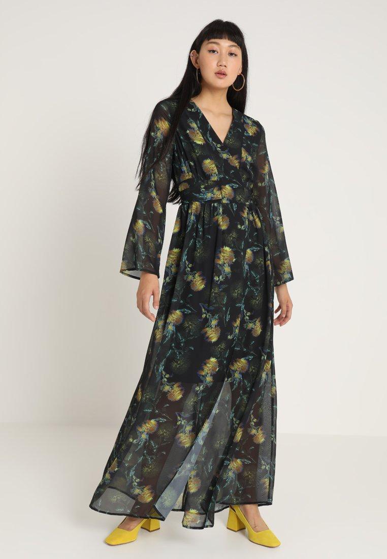 Lost Ink - BLURRED FLORAL WRAP DRESS - Maxi dress - multi
