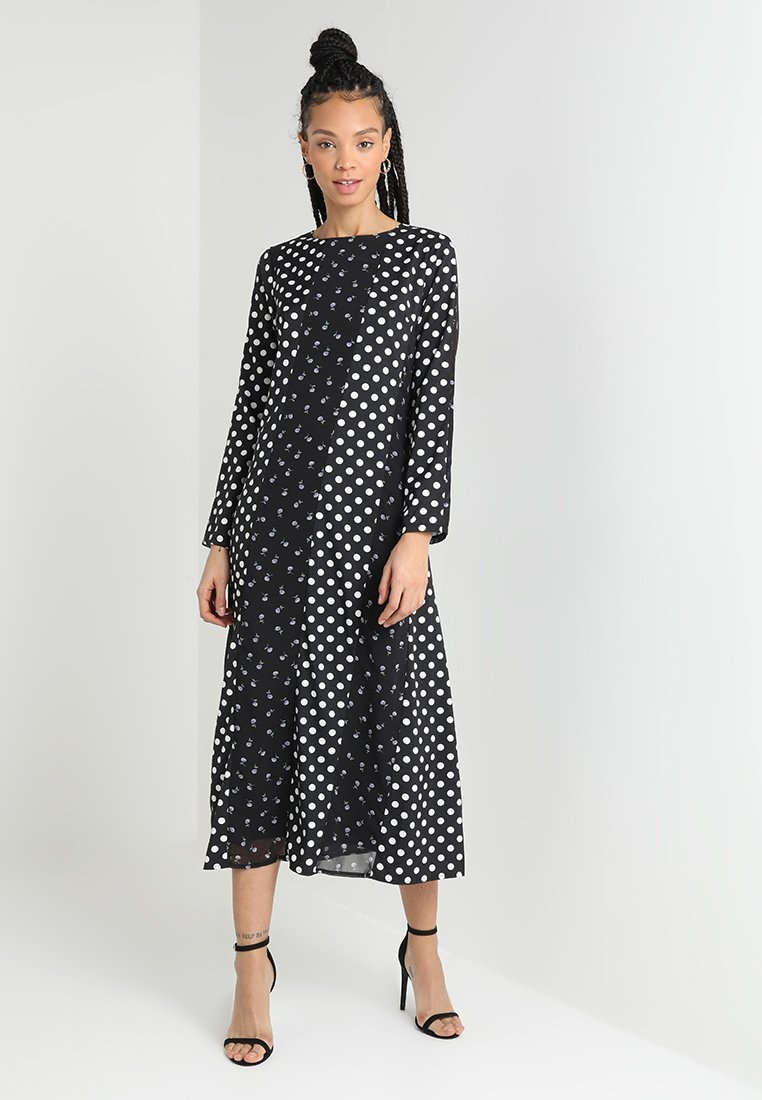 Lost Ink - PANELLED MIX PRINT COLUMN DRESS - Maxi šaty - black