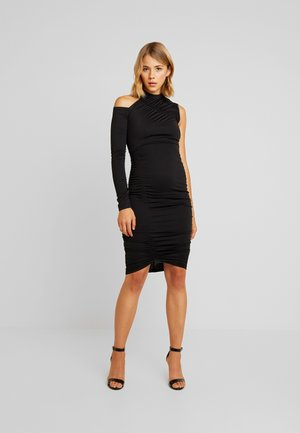 RUCHED ONE SHOULDER BODYCON DRESS - Pouzdrové šaty - black