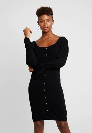 BUTTON FRONT SQUARE NECK FULL SLEEVE DRESS - Jumper dress - black