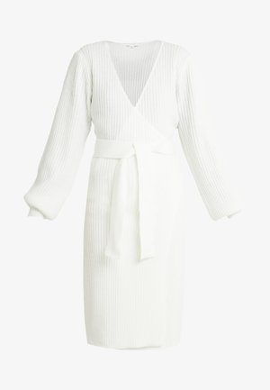 WRAP DRESS WITH FULL SLEEVE - Pletené šaty - off white