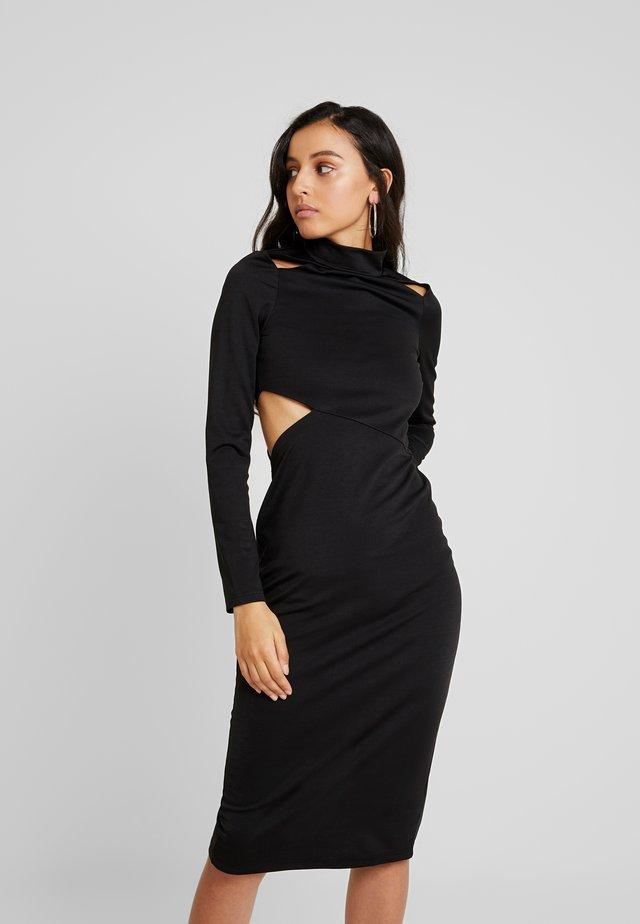 MULTI CUT OUT BODYCON DRESS - Sukienka etui - black