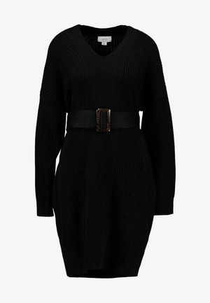 BELTED V NECK DRESS - Pletené šaty - black