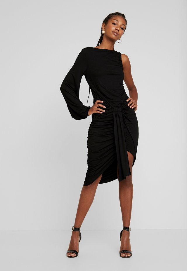 TIE FRONT BODYCON DRESS - Sukienka koktajlowa - black