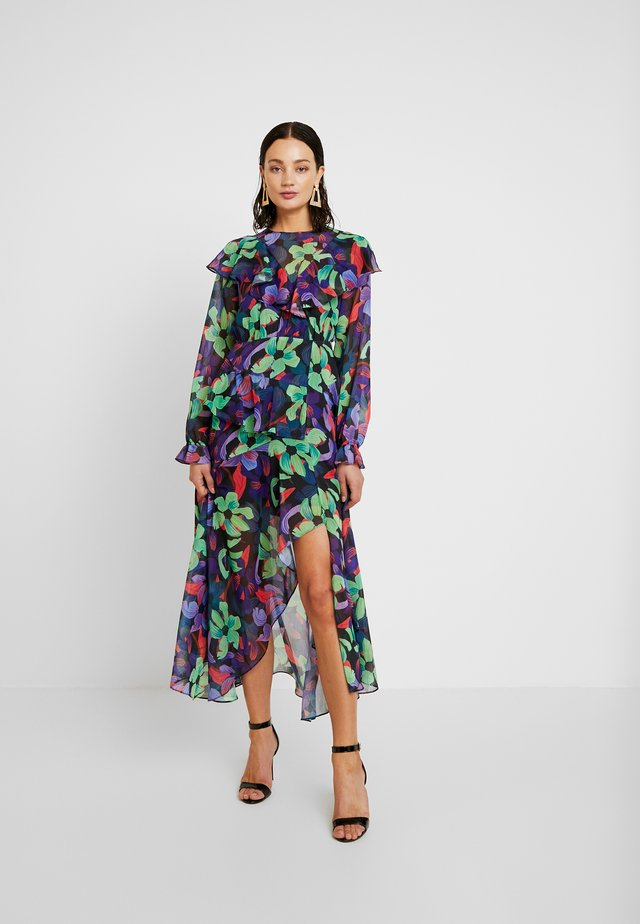 RUFFLE FLORAL MAXI DRESS - Długa sukienka - multi/black