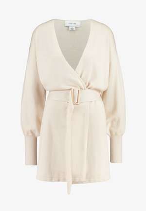 BELTED BUCKLE WRAP - Chaqueta de punto - cream