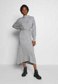 Lost Ink - TIE WAIST DRESS - Jumper dress - grey - 1