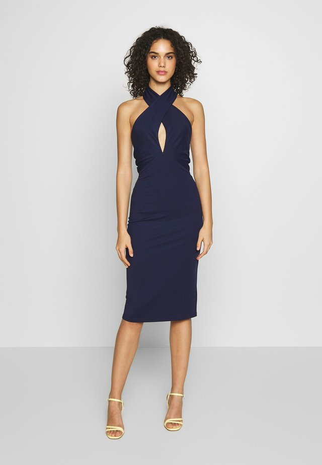 TIE BACK HALTER NECK MIDI DRESS - Sukienka koktajlowa - navy