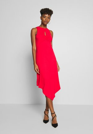KEYHOLE DETAIL HEM DRESS - Jerseykjole - red