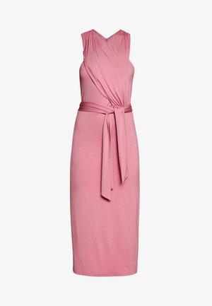 CROSS FRONT TIE WAIST DRESS - Jersey dress - pink