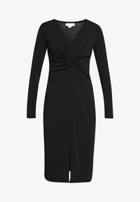 Lost Ink - KNOT FRONT LONG SLEEVE BODYCON DRESS - Pouzdrové šaty - black - 4